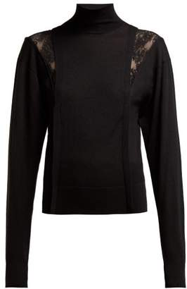 Chloé Lace Insert High Neck Wool Blend Sweater - Womens - Black