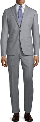 Neiman Marcus Modern-Fit Two-Piece Wool Suit, Gray
