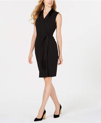 Calvin Klein Velvet-Collar Wrap Dress