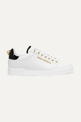 Dolce & Gabbana Embellished Leather Sneakers - White