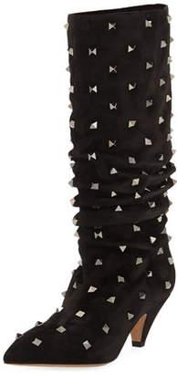 Valentino Rockstud Suede Scrunch Knee Boots