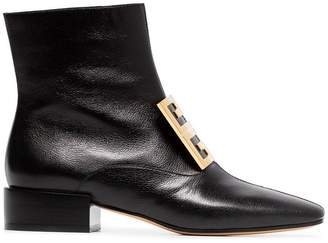 Givenchy black 4G low heel leather ankle boots