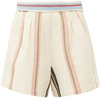 Apiece Apart Maren Jacquard Stripe Cotton Shorts - Womens - Cream Multi