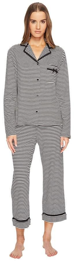 Kate Spade New York - Spring Stripe Cropped Pajama Set Women's Pajama Sets