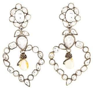 Saint Laurent Vintage Large Crystal Clip-On Earrings