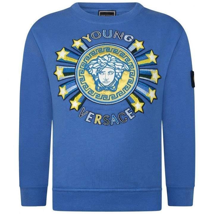 Young VERSACEBoys Blue Medusa Stars Sweater