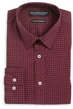 Nick Graham Printed Stretch Modern-Fit Button-Down Shirt