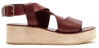 3d055d12659a A.P.C. Rita Leather And Suede Flatform Sandals - Womens - Burgundy