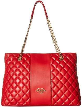 Love Moschino Quilted Tote Chain Strap Handbags