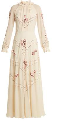 Vilshenko Cara embroidered silk-chiffon gown