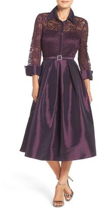 Eliza J Mixed Media Fit & Flare Dress $188 thestylecure.com