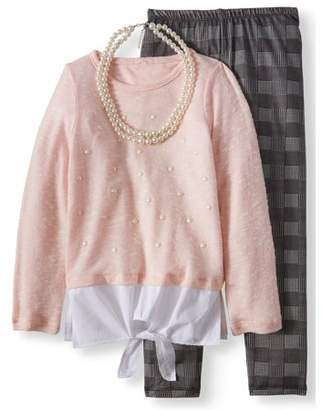 FOREVER ME Pearl Stud Sweater Knit 2Fer Top & Legging, 2-Piece Outfit Set with Necklace (Big Girls)