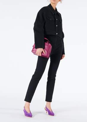 Tibi Black Denim Cropped Jean Jacket
