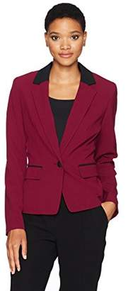 Nine West Women's 1 Button Notch Collar Bi Stretch Jacket