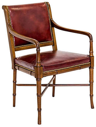 One Kings Lane Vintage Faux-Bamboo Leather Armchair by Hickory - Janney's Collection