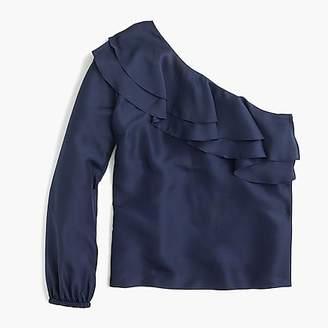 J.Crew One-shoulder silk shantung top