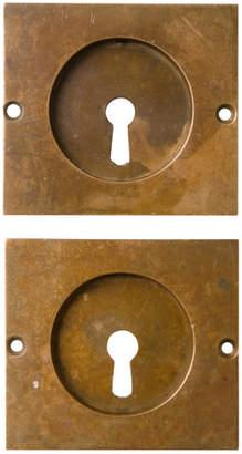 Rejuvenation Arts & Crafts Wrought Brass Pocket Door Pulls