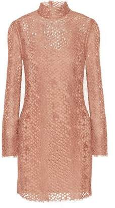 Alexander Wang Faux Leather-Trimmed Corded Lace Turtleneck Mini Dress