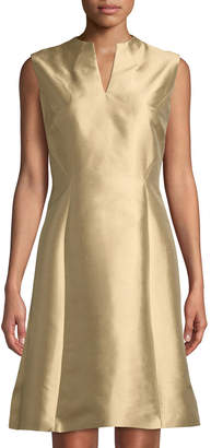 Lafayette 148 New York V-Neck Metallic Shantung A-line Dress