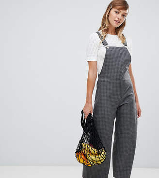 Monki grey check wide leg dungarees