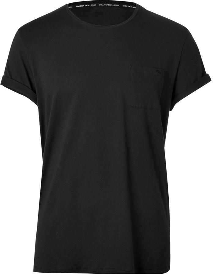 Each Other Black Hand Cut Raw Edge T-Shirt