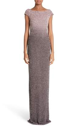 Pamella Roland Cowl Back Sequin Column Gown