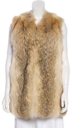 BEIGE Fur Collarless Vest Fur Collarless Vest