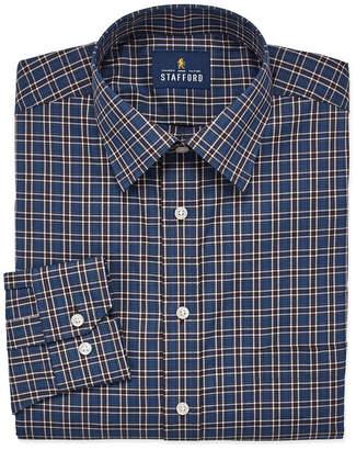 STAFFORD Stafford Travel Easy Care Stretch Broadcloth Long Sleeve Broadcloth Plaid Dress Shirt- Big And Tall