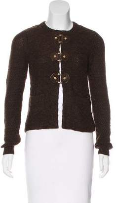Tory Burch Leather-Accented Wool Cardigan
