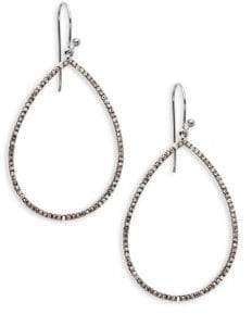 Champagne Diamond and Sterling Silver Loop Drop Earrings