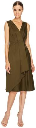 Jil Sander Navy V-Neck Sleeveless Dress with Ruffle Detail Women's Dress