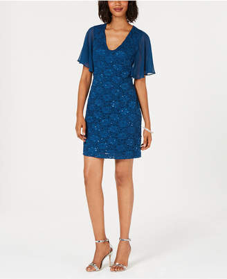 Connected Flutter-Sleeve Embellished Lace Dress