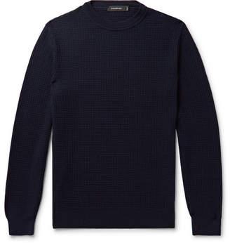 Ermenegildo Zegna Waffle-knit Wool And Cashmere-blend Sweater - Navy