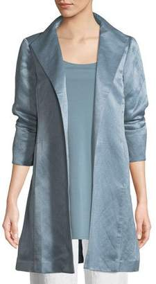 Eileen Fisher Organic-Linen/Silk Satin High-Collar Coat, Plus Size