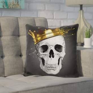 Wrought Studio Kendricks Royal Skull Throw Pillow