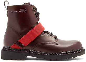 Valentino Lace-up contrast-strap leather boots