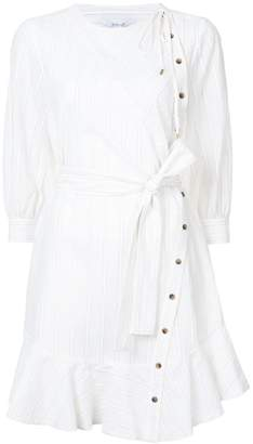 Derek Lam 10 Crosby Long Sleeve Belted Dress With Asymmetrical Placket