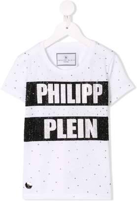 Philipp Plein Junior studded logo print T-shirt
