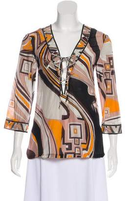 Emilio Pucci Printed Lace-Up Blouse