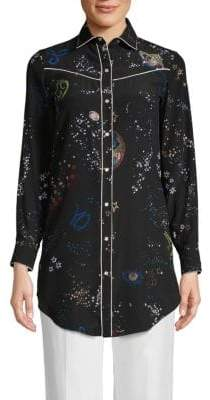 Valentino Printed Silk Button-Down Shirt