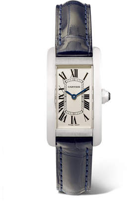 Cartier Tank Américaine 19mm Small Stainless Steel And Alligator Watch - Silver