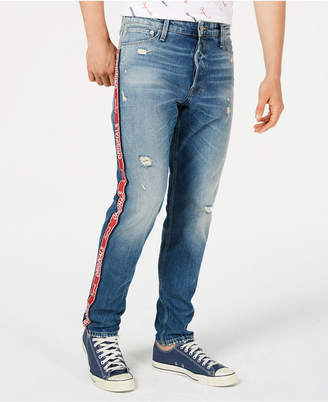 Jack and Jones Men's Originals Slim-straight Fit Logo Side Stripe Ripped Jeans