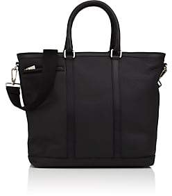 Barneys New York MEN'S LEATHER TOP-ZIP TOTE BAG-BLACK