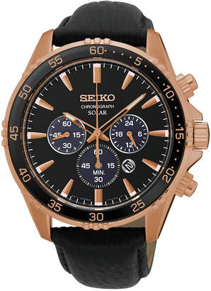 Seiko Men Solar Chronograph Black Leather Strap Watch 44mm SSC448