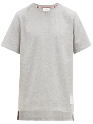 Thom Browne Slit Hem Cotton T Shirt - Mens - Light Grey