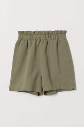H&M Linen-blend Shorts - Green