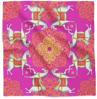 House of Gharats - Kalighat Horse Silk Scarf Pink