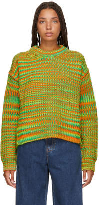Acne Studios Orange and Green Ribbed Sweater