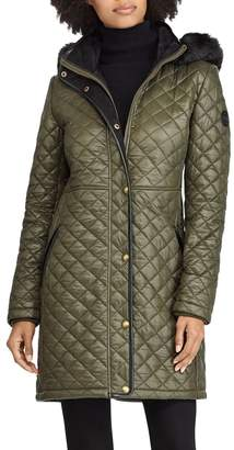 Lauren Ralph Lauren Faux Fur Trim Quilted Jacket