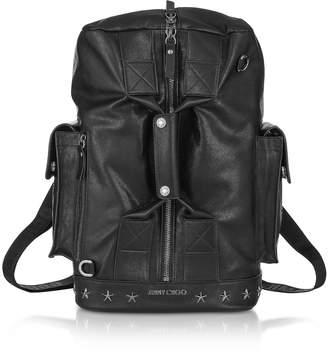 Jimmy Choo Arlo BLS Black Leather Convertible Backpack Duffle Bag w/Gunmetal Hardware